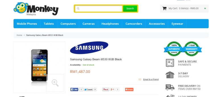 Samsung Galaxy Beam i8530 8GB Black - After Price change